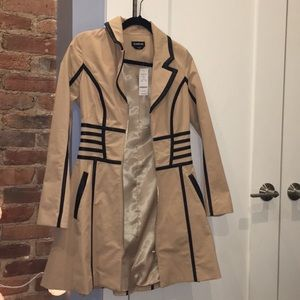 NWT Bebe trench coat with leather accents